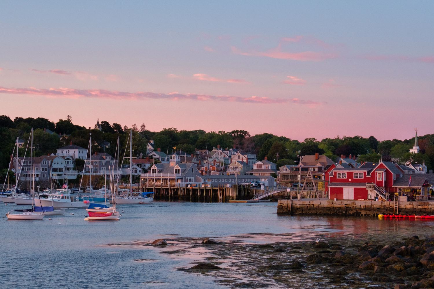 Twilight just before sunrise over the harbor of Rockport, Massachusetts.
