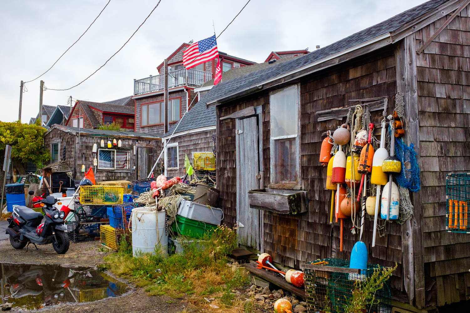 Back view of Bearskin Neck in Rockport, Massachussetts.