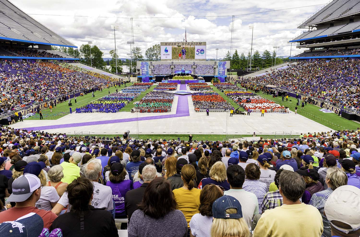 Timothy Shriver, Chairman of the Board of Directors of Special Olympics, addresses the crowd during the Opening Ceremony of the USA Games on the Alaska Airlines Field of Washington University's Husky Stadium in Seattle, Washington on July 1, 2018.