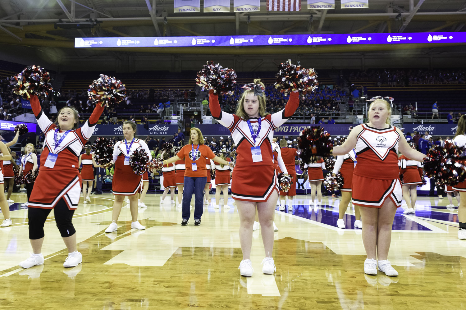 Cheerleaders performing for all Special Olympics athletes at the Marv Harshman Court of the University of Washington on July 1, 2018.