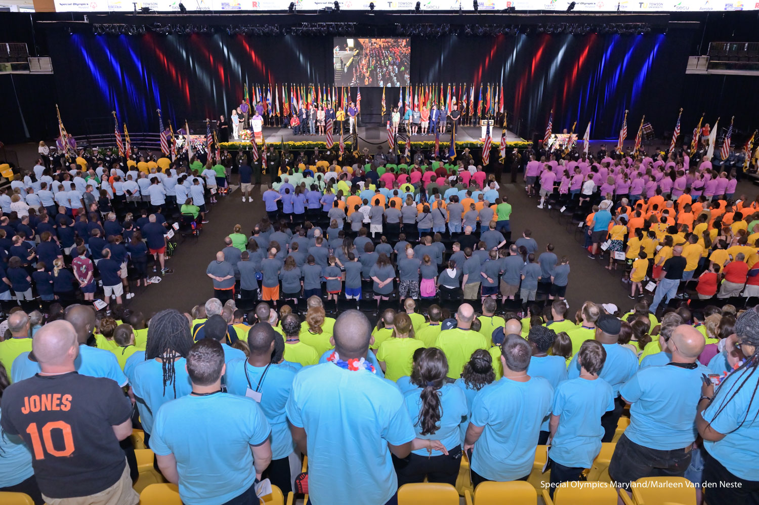 Opening Ceremony in SECU Arena at Towson University, MD on Friday, June 7, 2019. Over the course of three days 1500 athletes and Unified Partners will compete in athletics, softball, cheerleading, bocce or swimming.