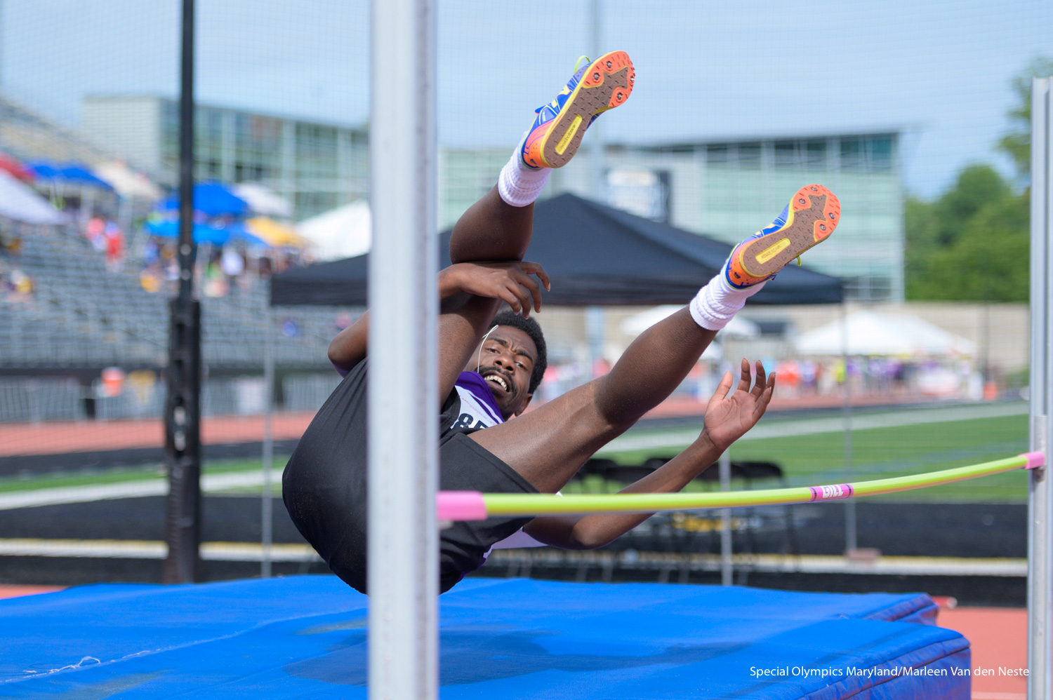 High jumper successfully completes a challenging jump at Unitas Stadium , Towson University, MD on Sunday June 9, 2019.