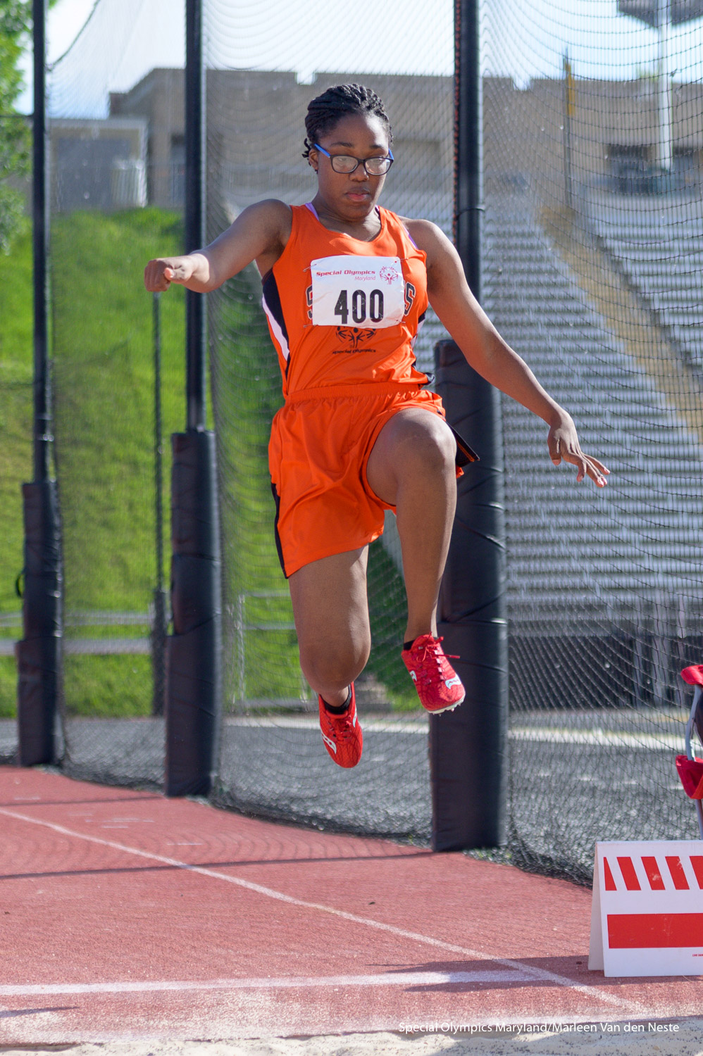 Athlete giving it her very best at the long jump event at Unitas Stadium, Towson University, MD on Sunday, June 9, 2019.