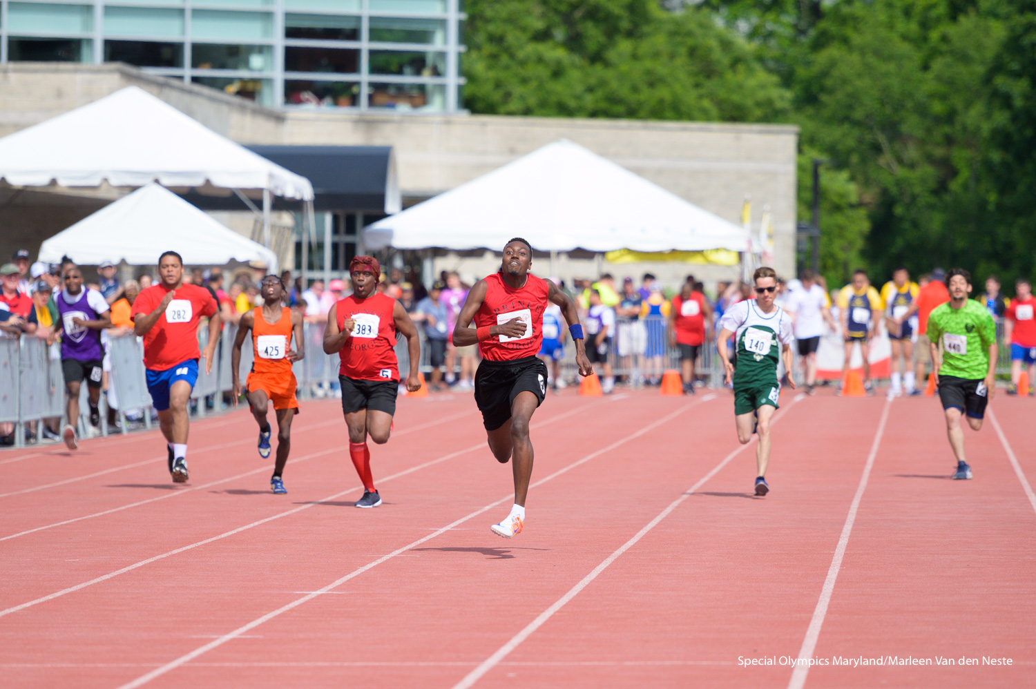 Short distance runners on the track of Unitas Stadium, Towson University, MD. on Sunday, June 9, 2019.