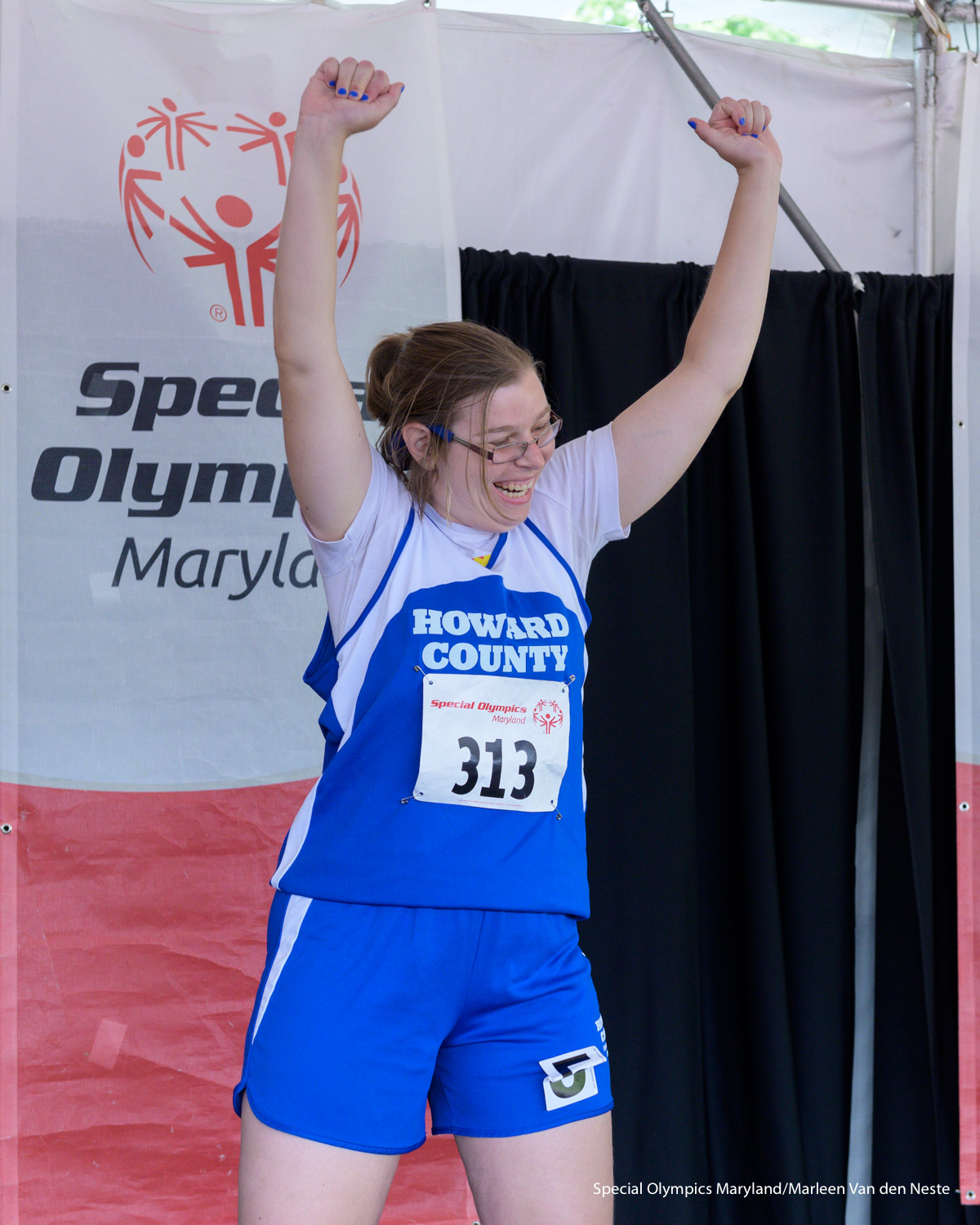 A very happy athlete in the Awards tent at Unitas Stadium, Towson University, MD. on Sunday, June 9, 2019.