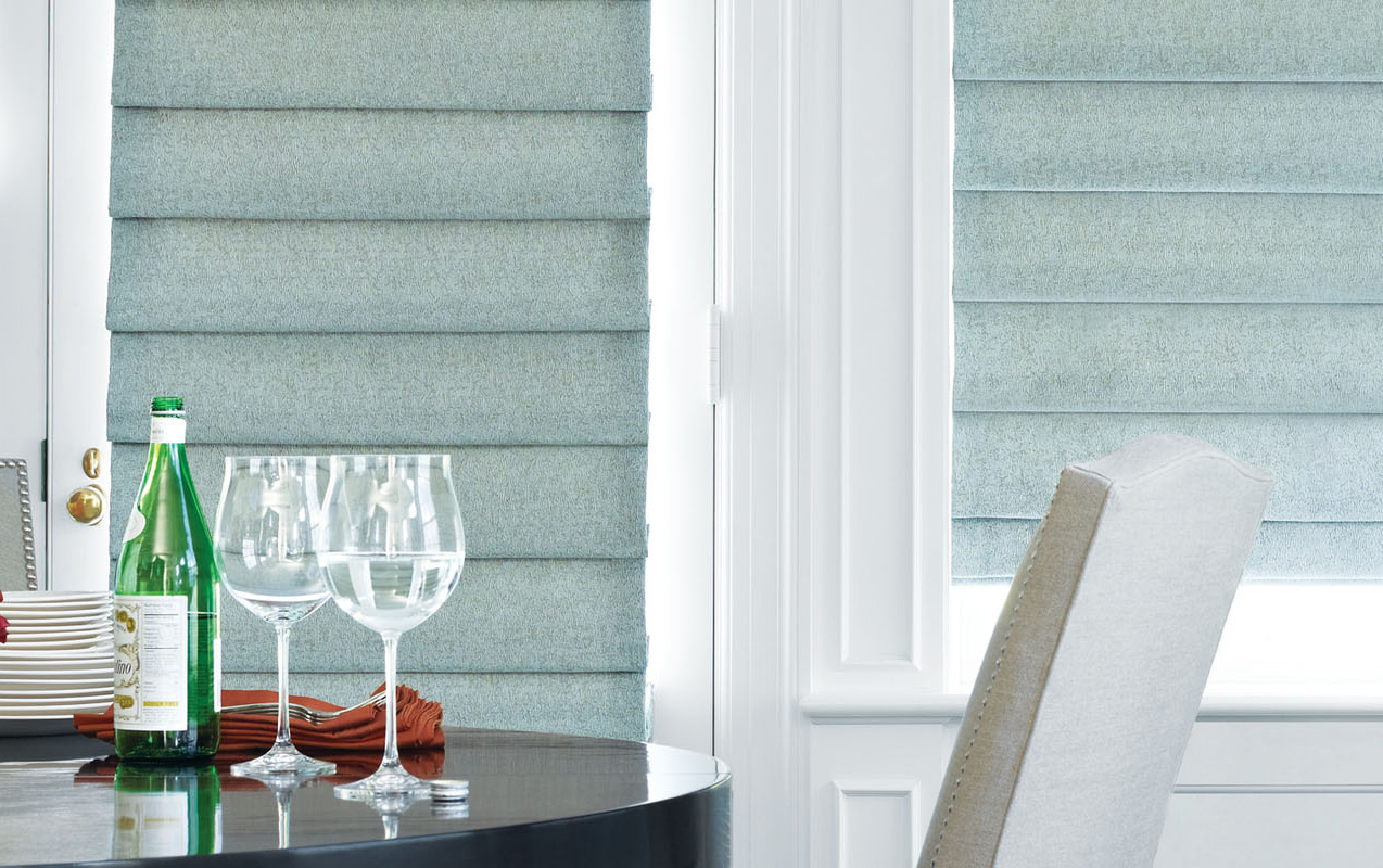 - Ignite your creative fire with beautiful Roman Shade fabrics available in a variety of styles and colors.  Whether you're looking for a classic flat shade for a clean, relaxed look, or a teardrop variety for a bolder style with added dimension, Roman Shades make any room look and feel more distinctive.