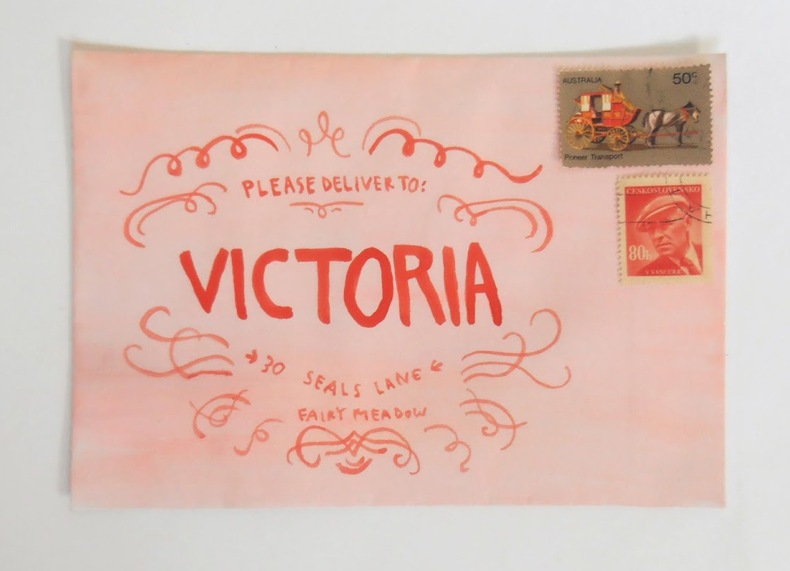 """This envelope is one of my favorite examples of fan art made with inspiration from Wes Anderson's  """"  The Grand Budapest Hotel.""""  Tips from the artist's blog,   Thimble  : """"All you have to do is paint an envelope salmon pink with watercolors, allow it to dry, then use red paint to do a simplified version of the Mendl's box design."""""""
