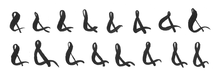 "A collection of ampersands from my sketchbook. Joe and Frances preferred the formal quality of the ampersand to a scripted ""+"" symbol or the word ""and."""