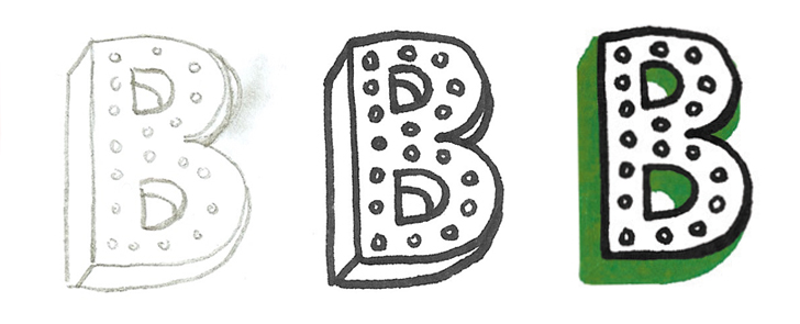 """The """"B"""" was sketched as a dropcap for a block of type on the travel information card. Sketches in pencil and marker led to a final character with an emerald shadow."""
