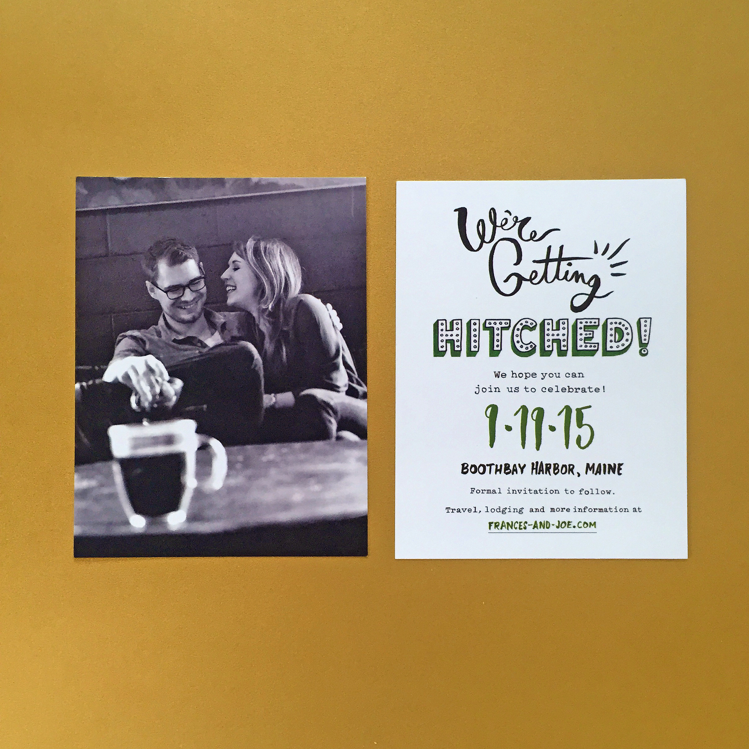 A version of the save-the-date card. Couple's photo by  Saed Hindash .