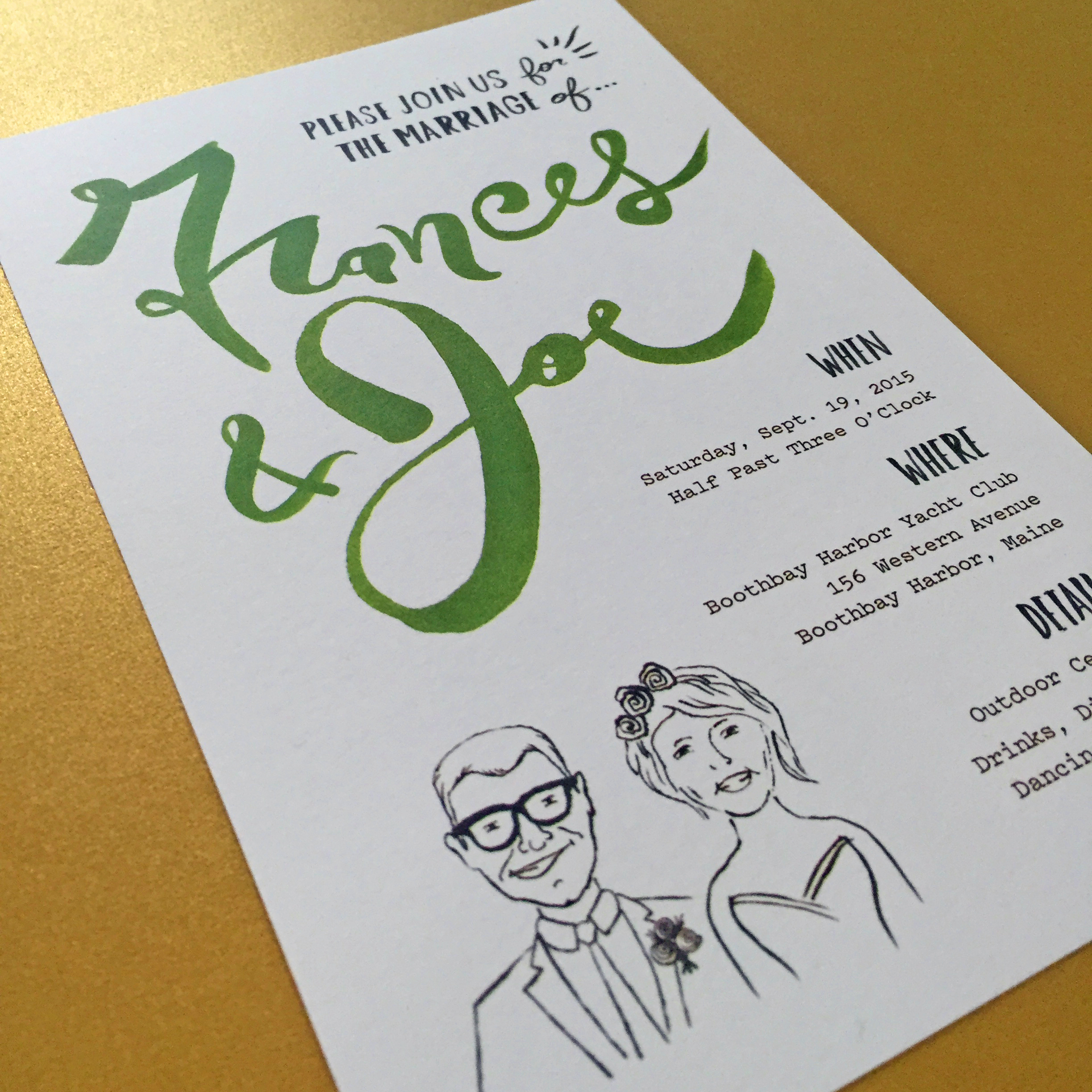 The formal invitation includes a fun illustration of the couple.