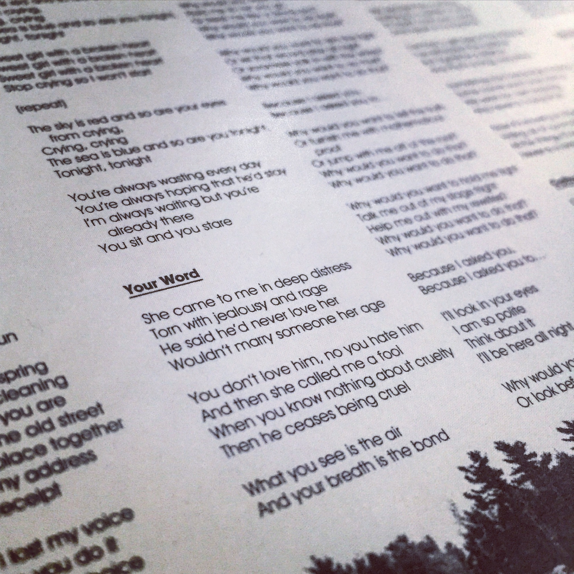 A close-up on the lyrics.