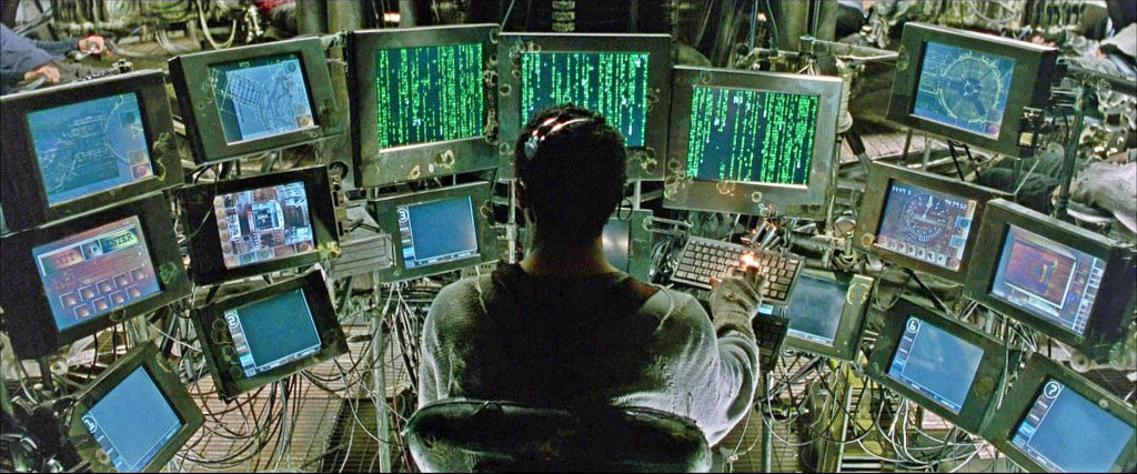 "The setup of multiple iPad screens behind the counter at Jack's evokes this scene from  ""The Matrix."""