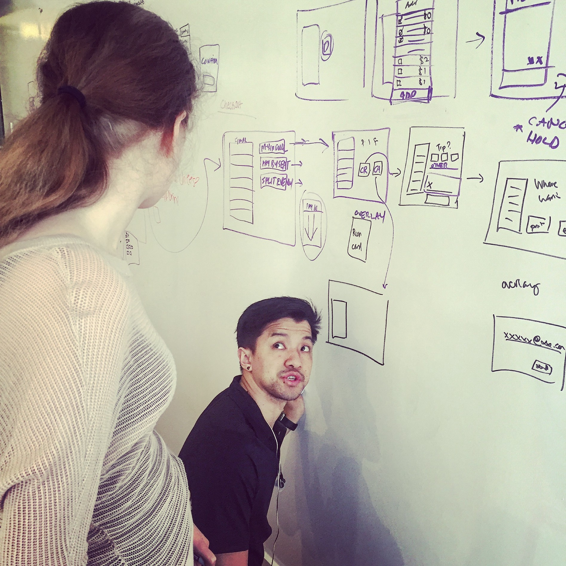 Smriti, left, and Chris sketch out design ideas for the new app. Below, all my sketches for the app.