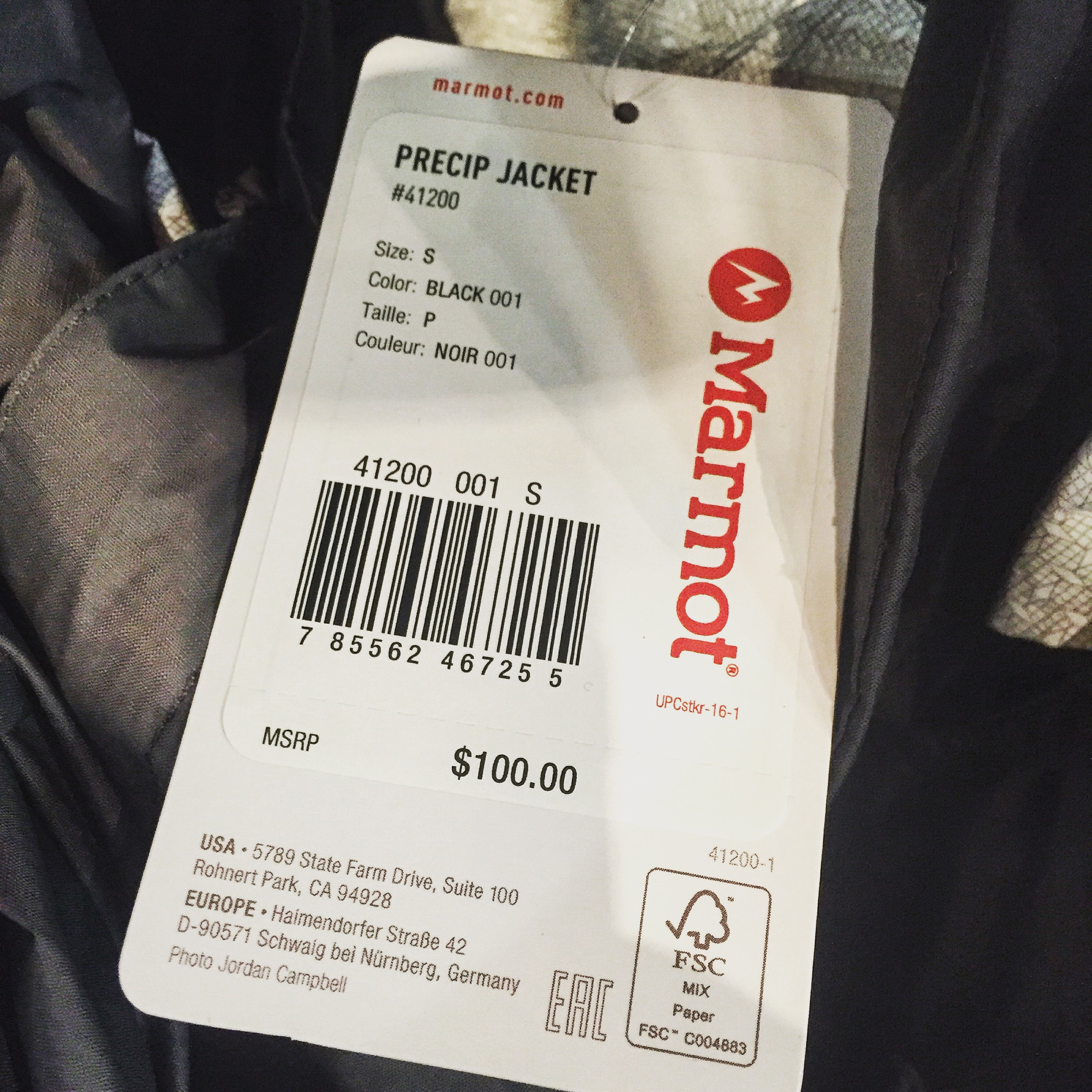 The tag on one of the jackets a customer tried on before buying.