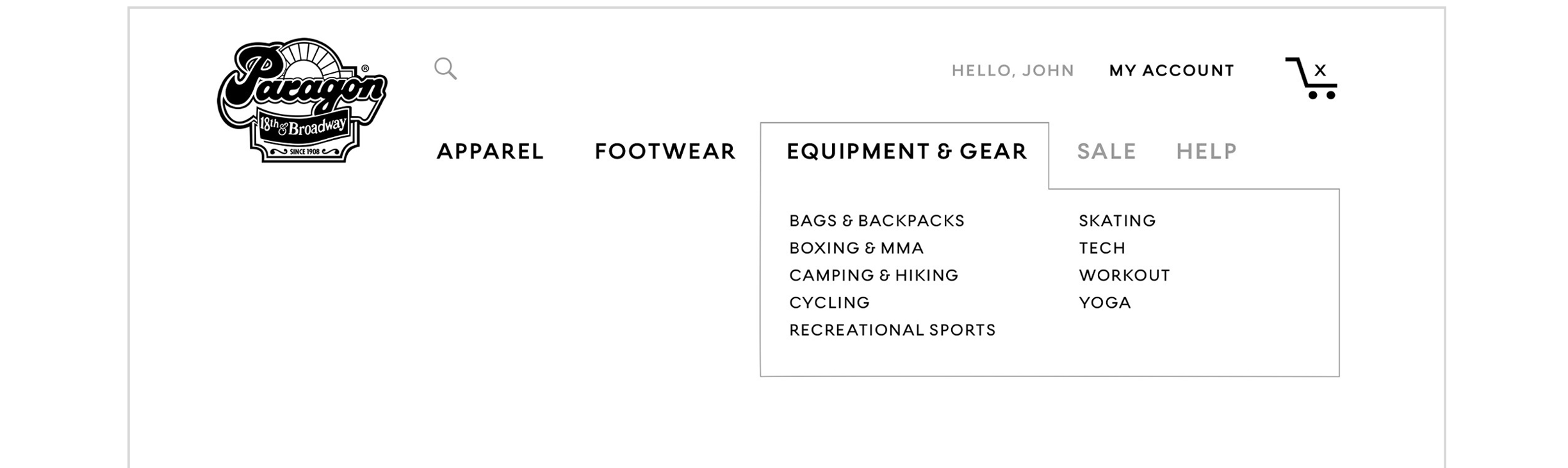 "Top navigation includes ""Equipment & Gear"" dropdown."