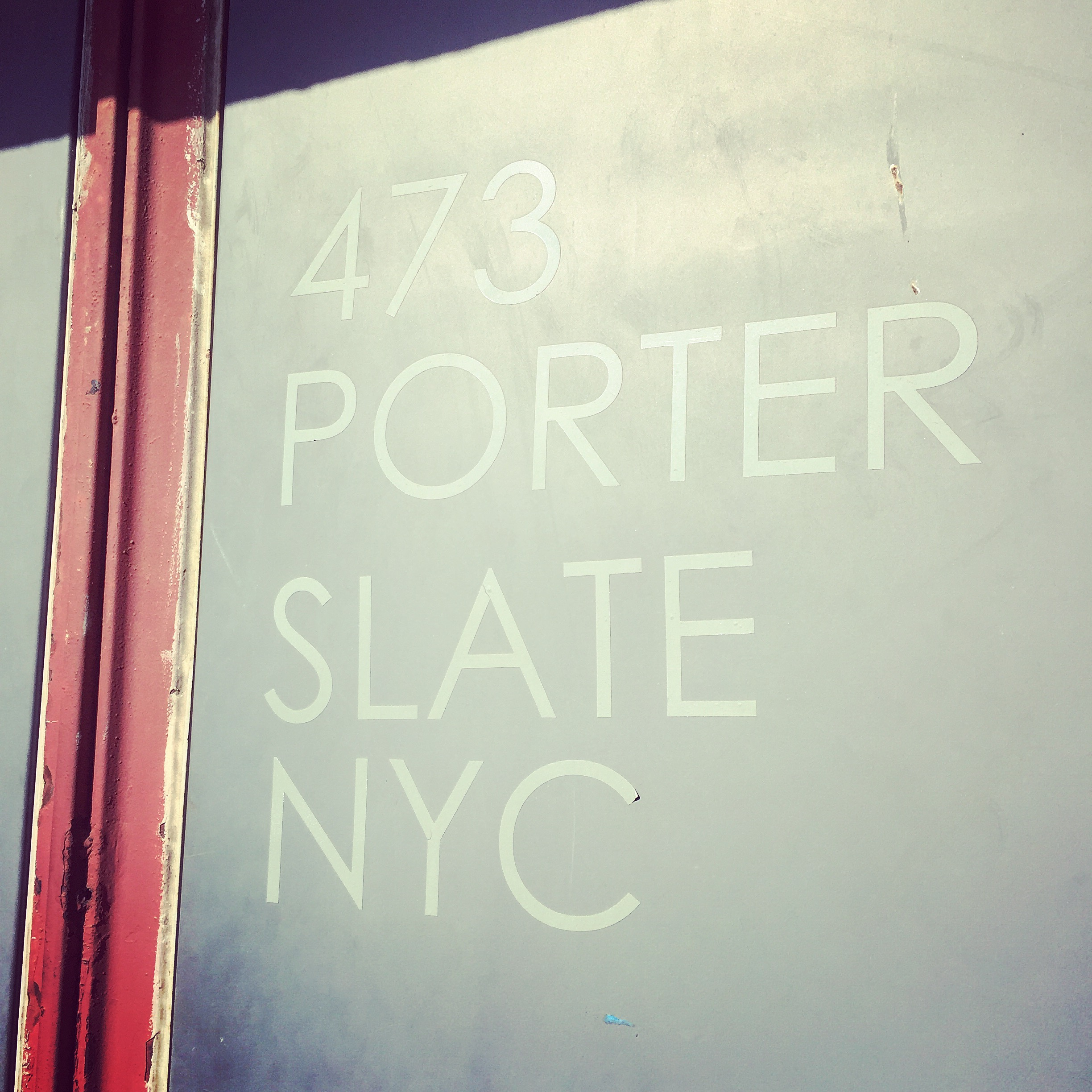 The entrance of Slate's dry cleaning and laundry facility in Greenpoint, Brooklyn.