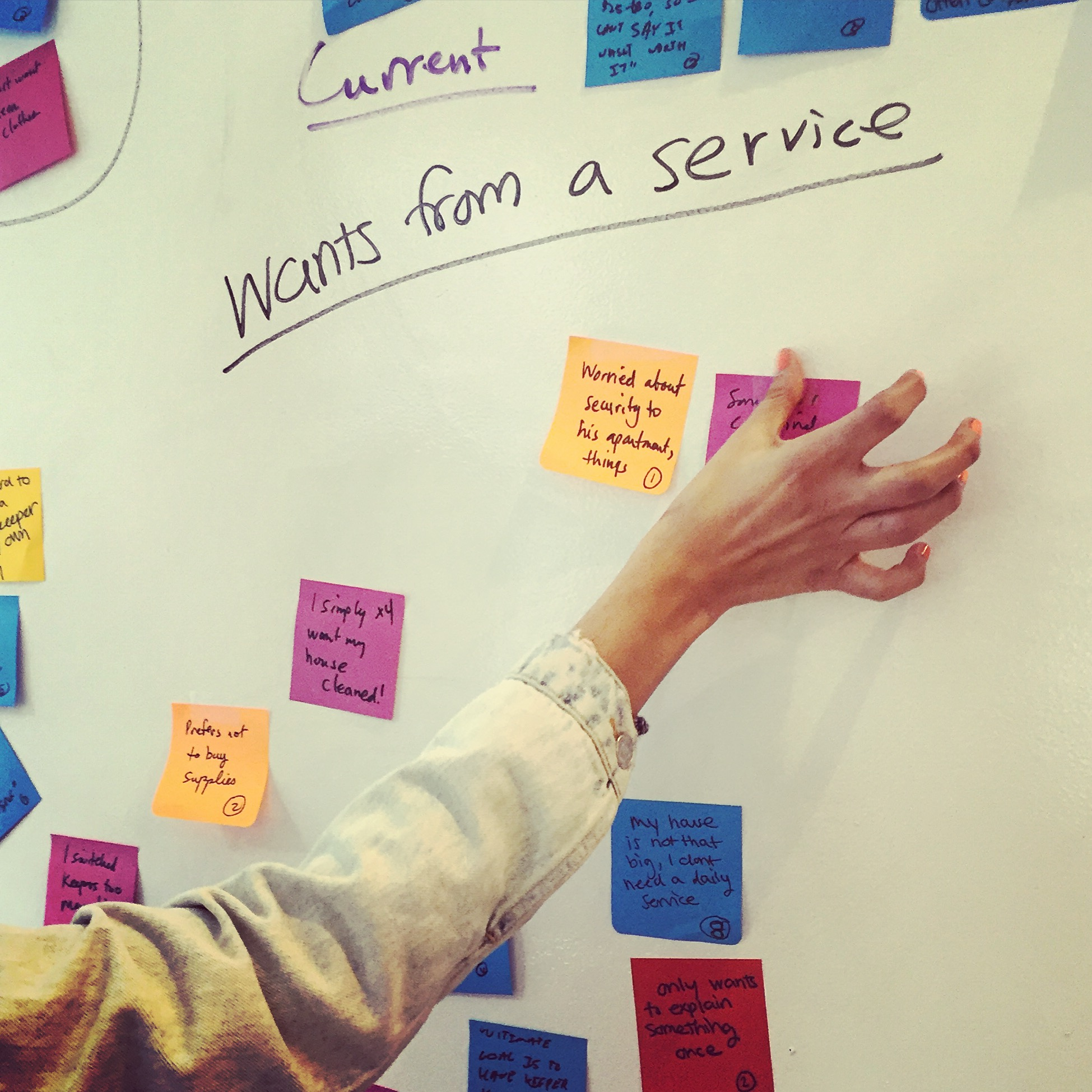 "One category as part of our affinity mapping was ""wants from a service."""