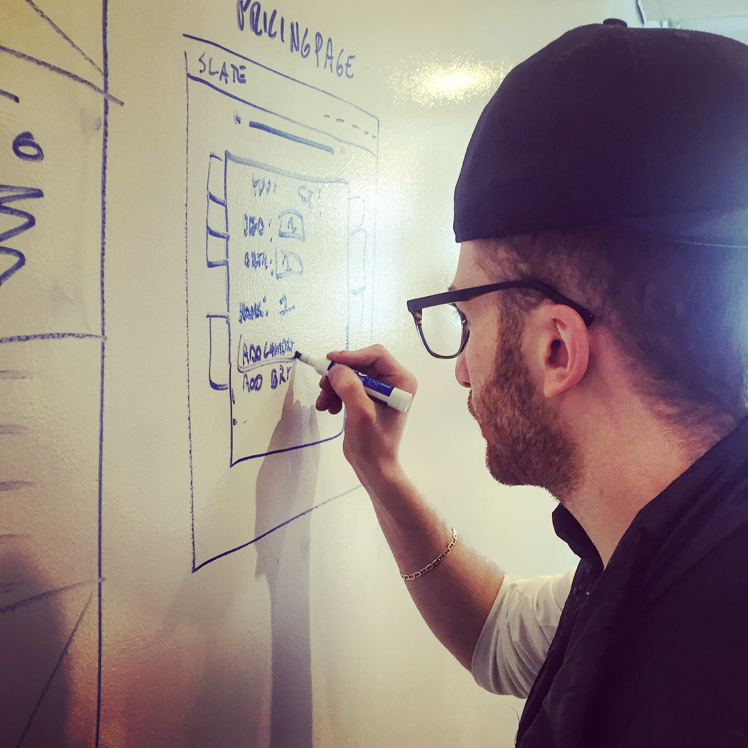 Anthony sketches some ideas during the exploratory design phase of the project.