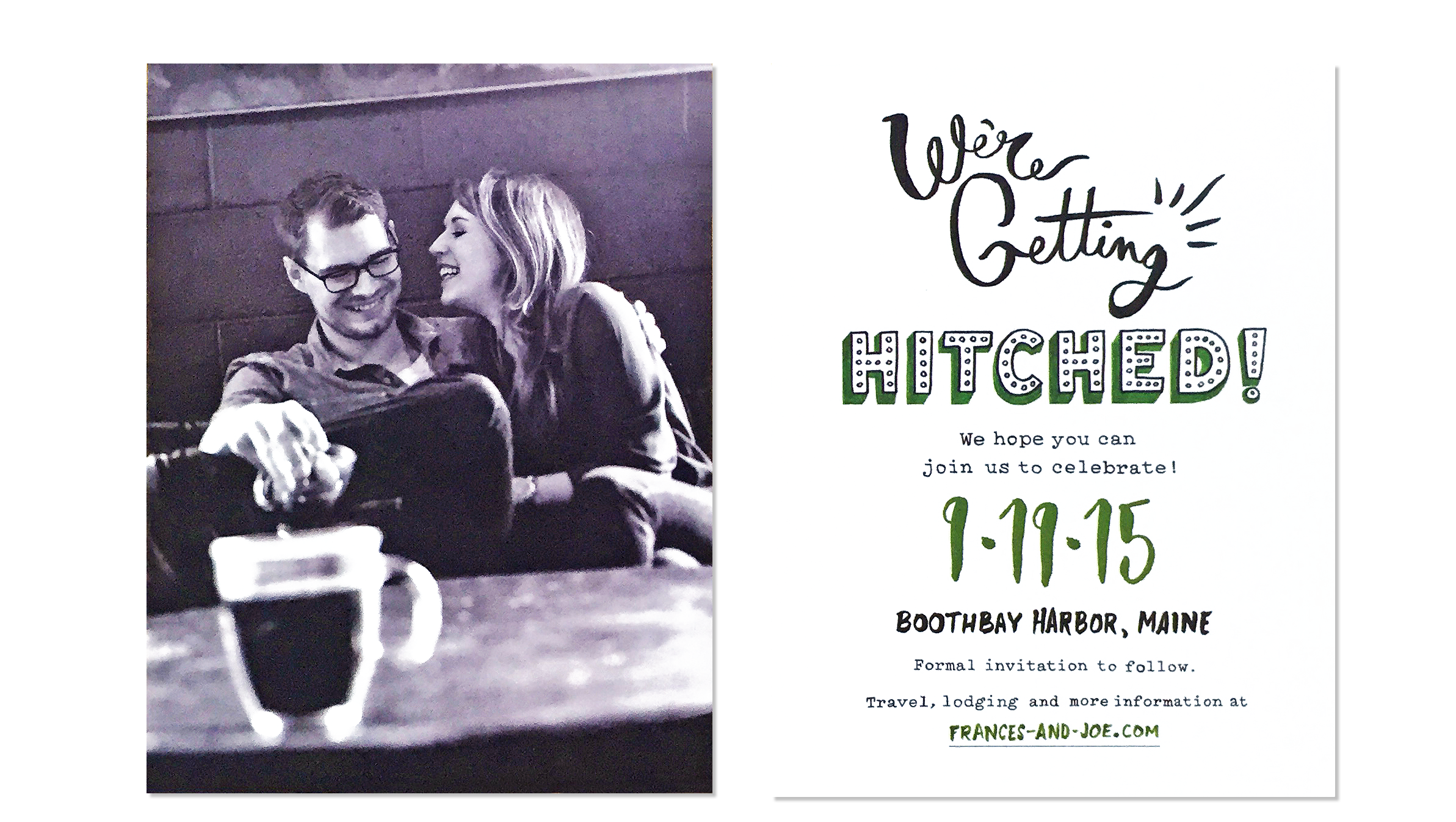 The save-the-date card is double-sided. Photo by Saed Hindash.