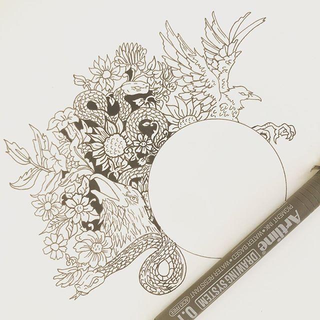 Fun stuff 🖤 . . #inktober  #ink #sketch #sketchbook #coverart #raven #snake #serpent #floral #illustration