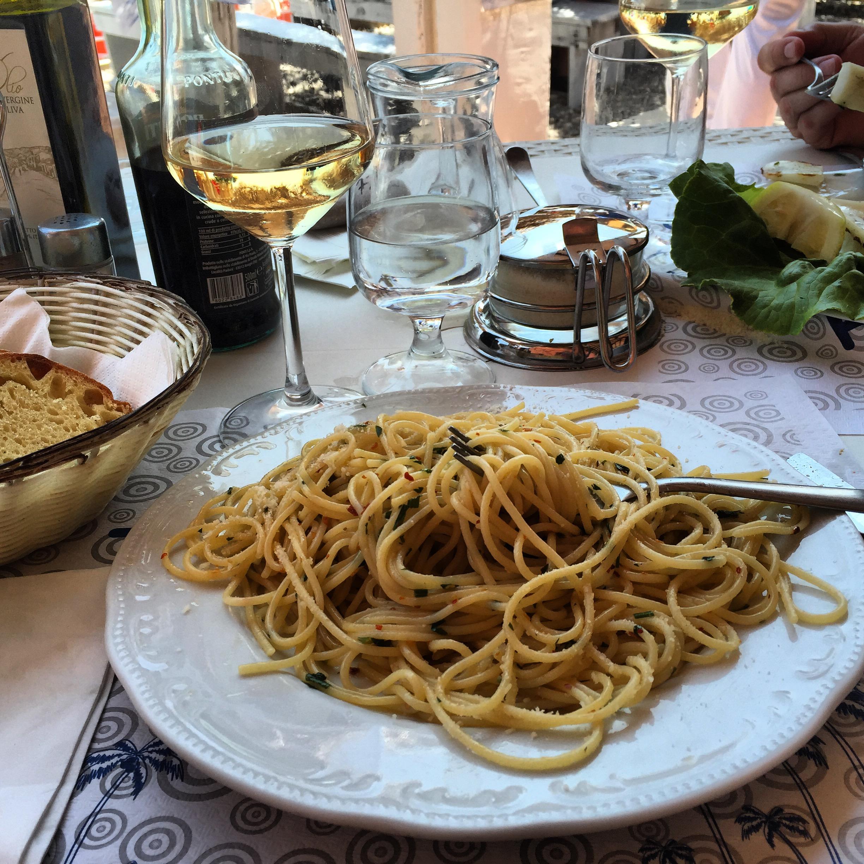 Spaghetti Alio, Olio e Pepperoncino, Lido Tropicana, Taormina Mare