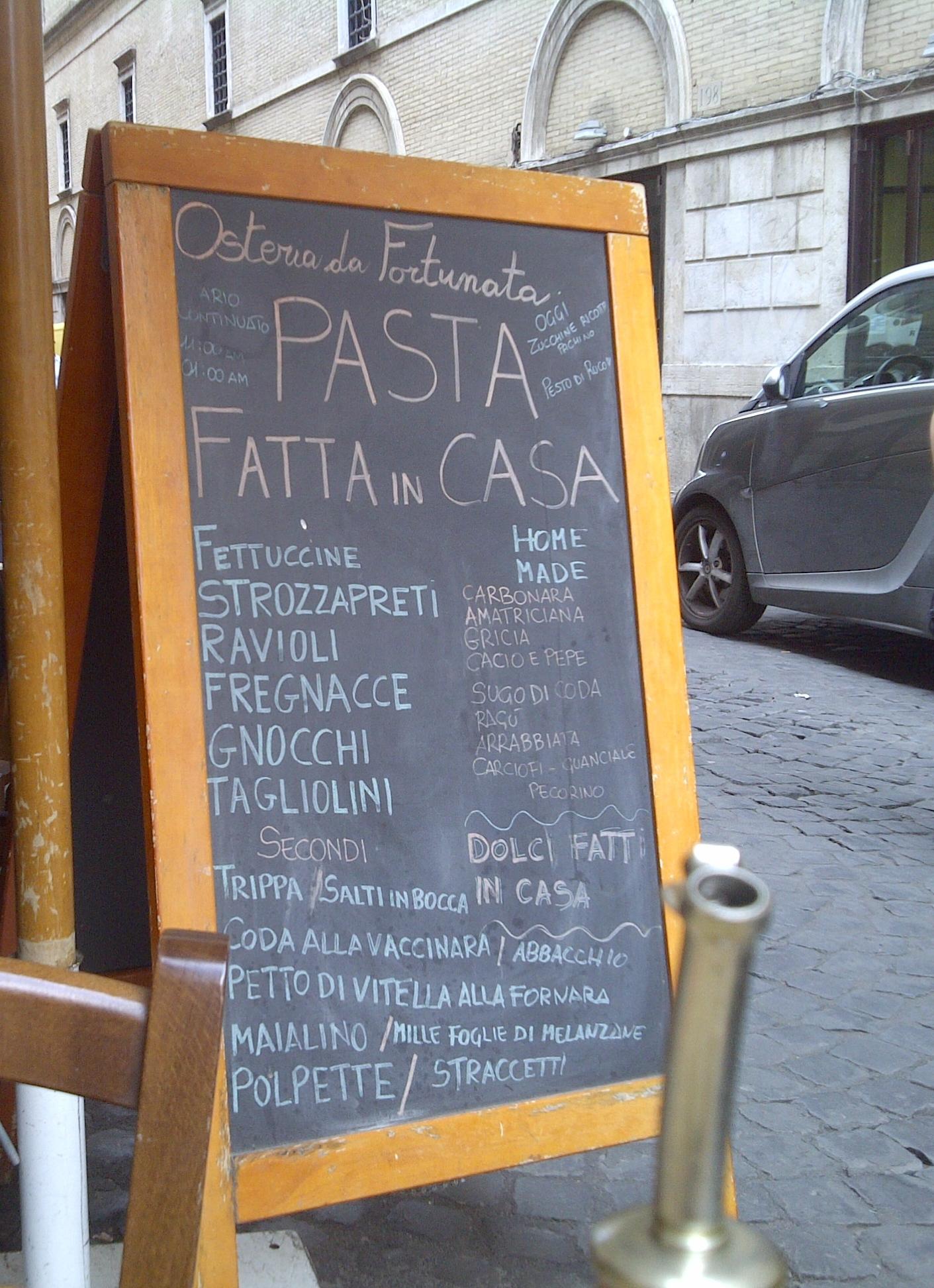 Osteria La Fortunata, Rome, Italy