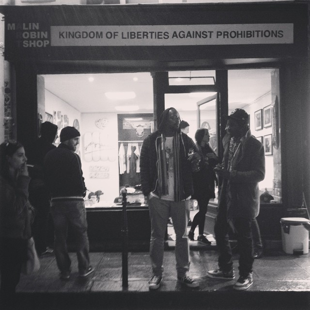 Kingdom of Liberties Against Prohibitions (KLAP) signage, first exhibtion opening night.