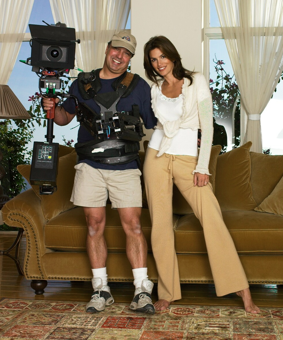 Posing with classy Cindy Crawford.