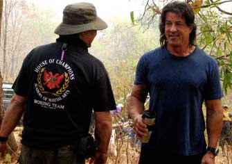 Ron and Sly having a laugh on Rambo-2008