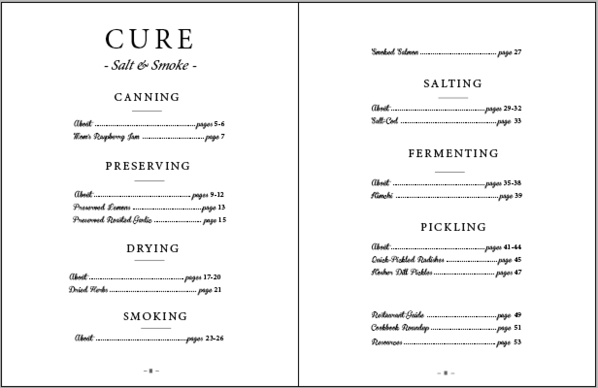 Table of Contents, Cure, Salt & Smoke, Honest Magazine