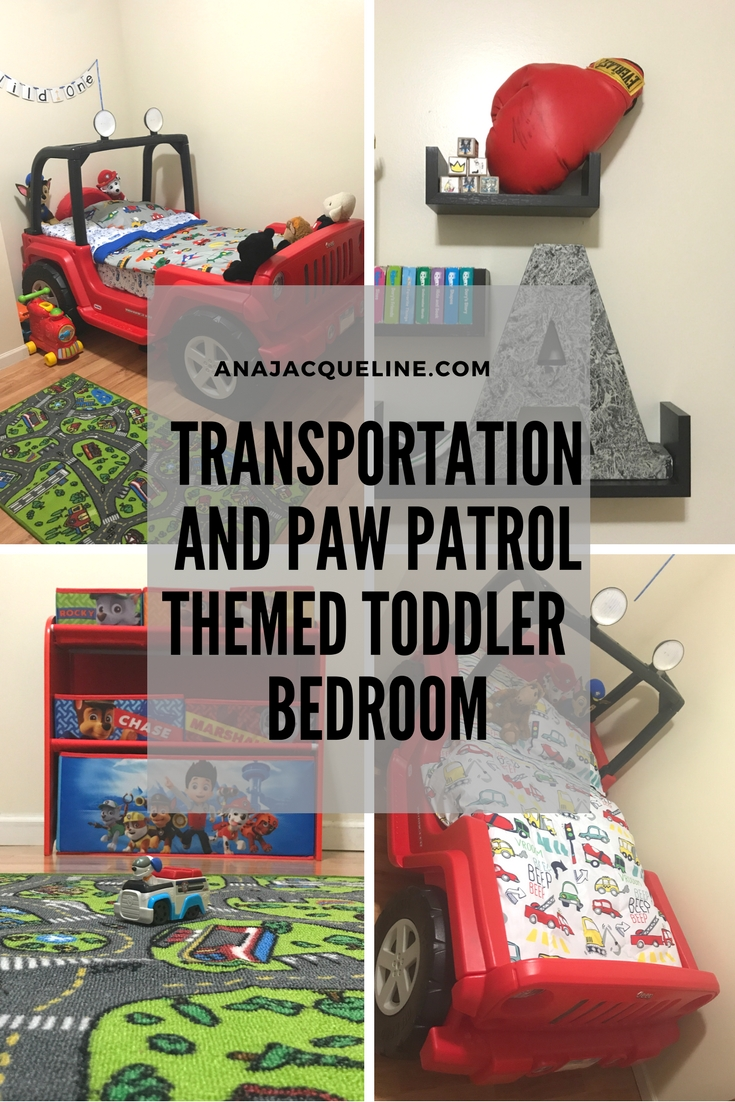 Transportation and Paw Patrol toddler bedroom | Transportation Toddler Bedroom | Paw Patrol Bedroom | Transportation Themed Bedroom | #TransportationThemeBedroom | #PawPatrolthemeBedroom | #CarsToddlerBedroom | #PlanesToddlerBedroom | #ToddlerBoyBedroom | #TransportationToddlerRoom |http://anajacqueline.com