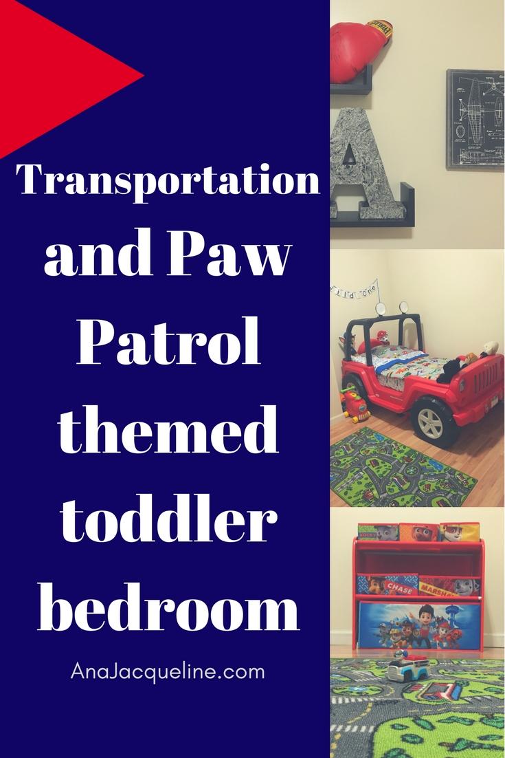 Transportation and Paw Patrol toddler bedroom | Transportation Toddler Bedroom | Paw Patrol Bedroom | Transportation Themed Bedroom | #TransportationThemedBedroom | #PawPatrolthemedBedroom | #CarsToddlerBedroom | #PlanesToddlerBedroom | #ToddlerBoyBedroom | http://anajacqueline.com
