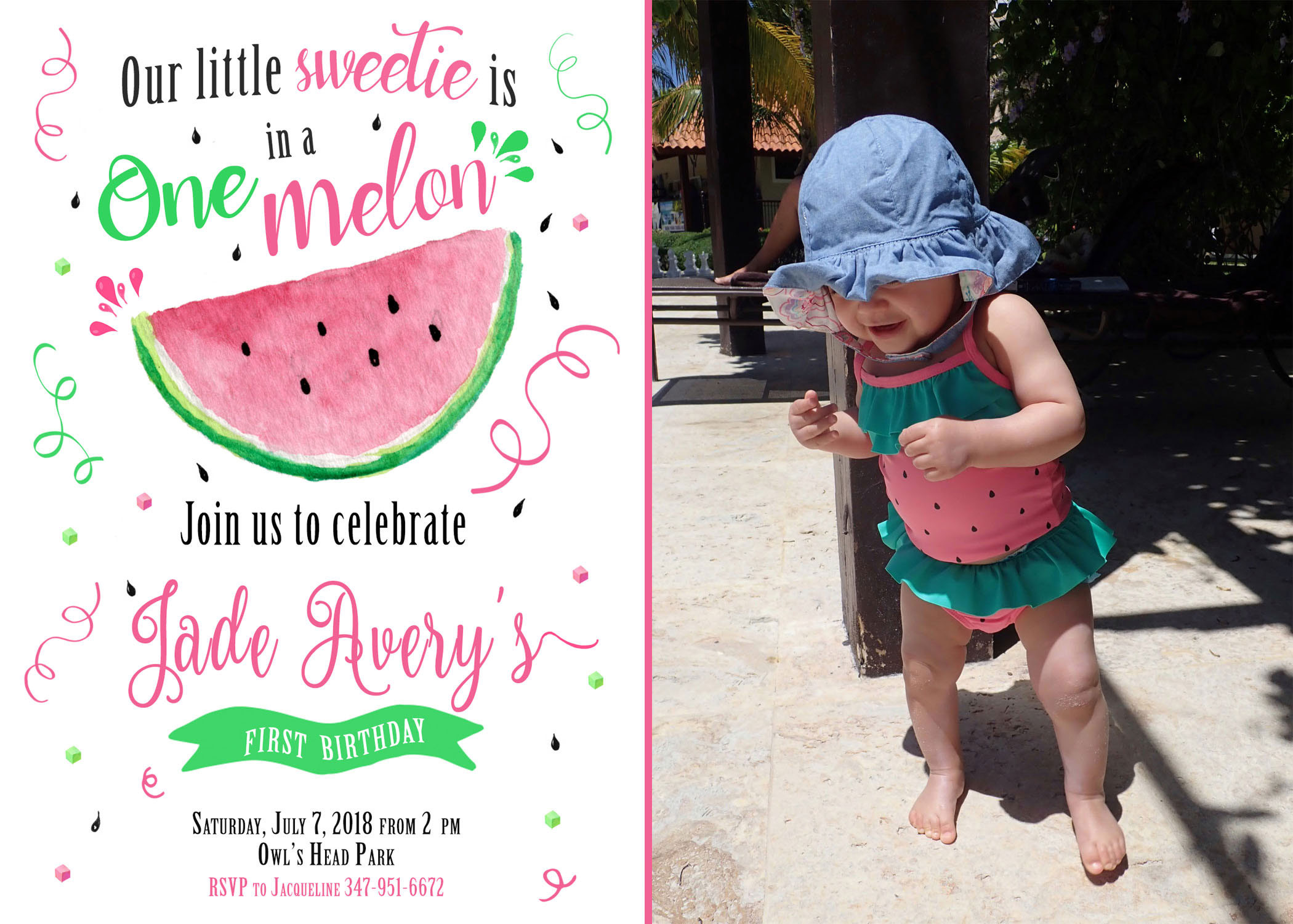 One In Melon Birthday Invitation