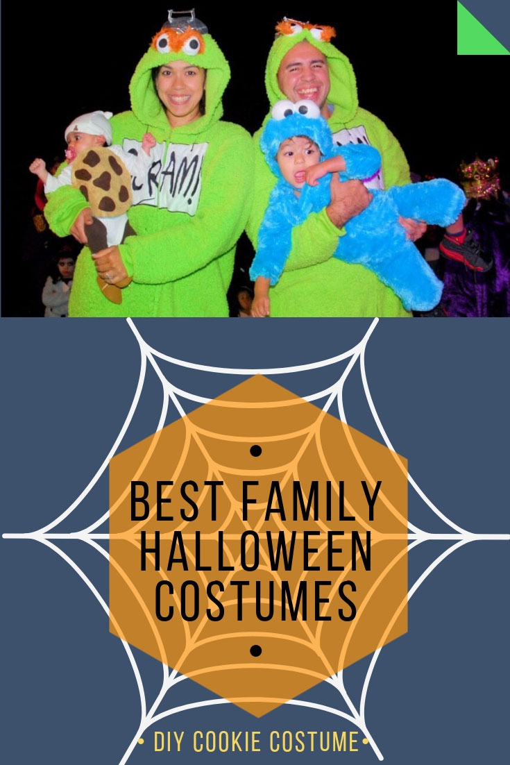 Best Family Halloween Costumes | Mr. and Mrs. Grouch | Cookie Monster costume | DIY Cookie costume |DIY cookie costume baby | Sesame Street family halloween costumes | Halloween costumes | DIY baby halloween costume | #familyhalloweencostumes | #diycookiecostume | AnaJacqueline.com