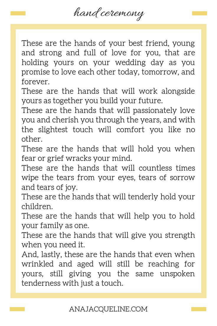 Hand Ceremony | Wedding Ceremony Ideas | Non religious ceremony readings | Romantic ceremony reading | anajacqueline.com