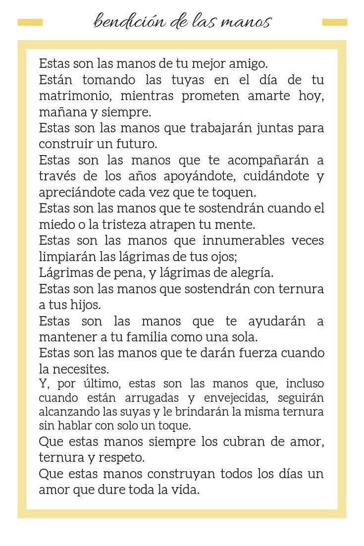 Bendicion de las Manos | Hand Ceremony in Spanish | lectura romántica boda | anajacqueline.com