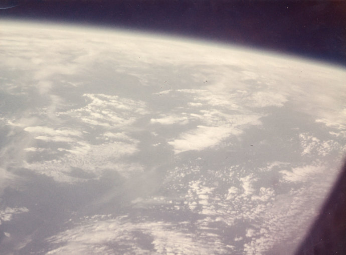 The first photograph from space taken by a human, Mercury-Atlas 6 mission, February 20, 1962..jpg
