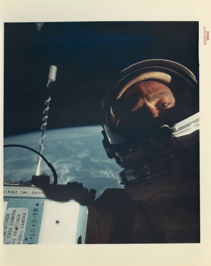 The first self-portrait taken in space, Gemini 12 mission, November, 1966..jpg