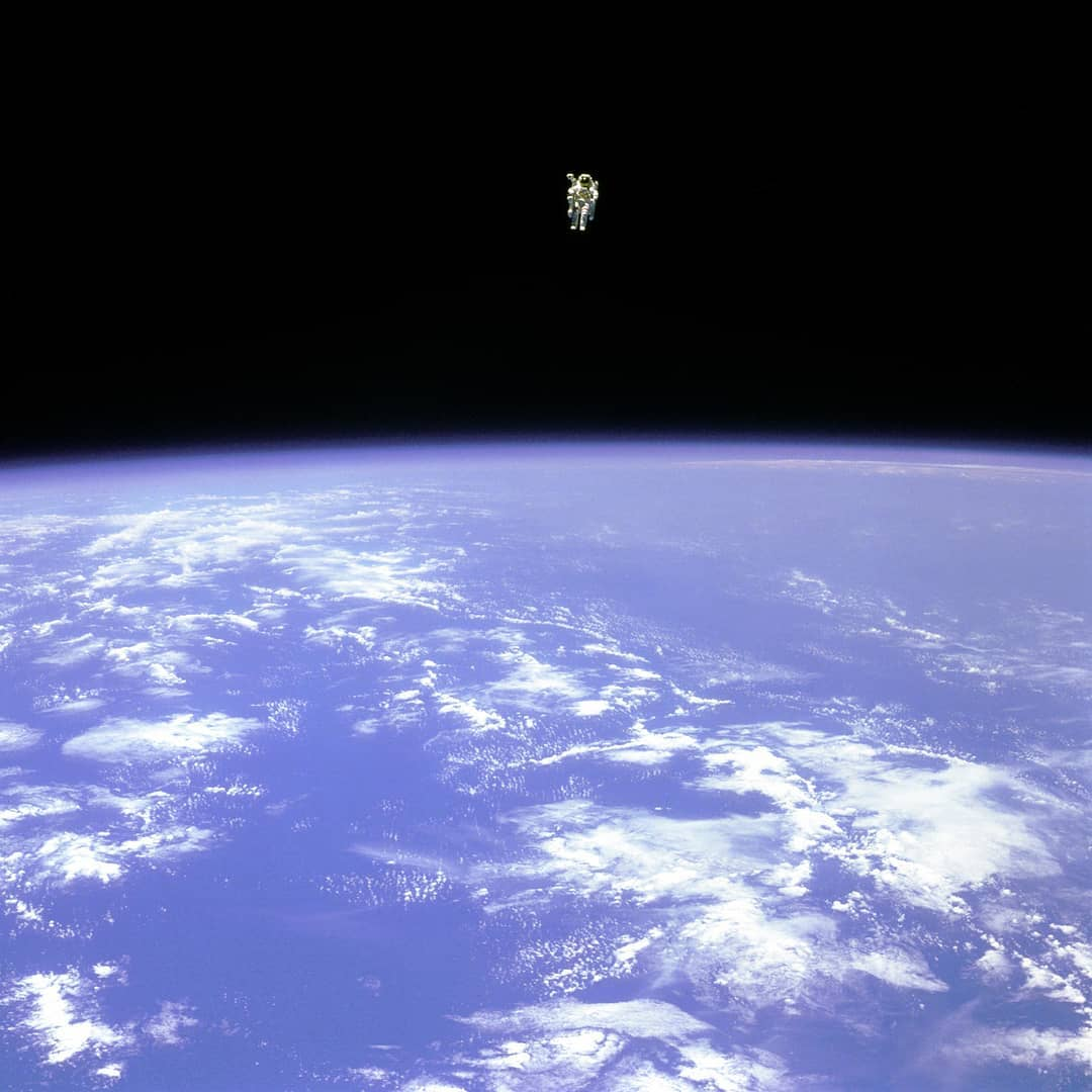 Bruce McCandless, the first astronaut to experience space untethered to a spacecraft