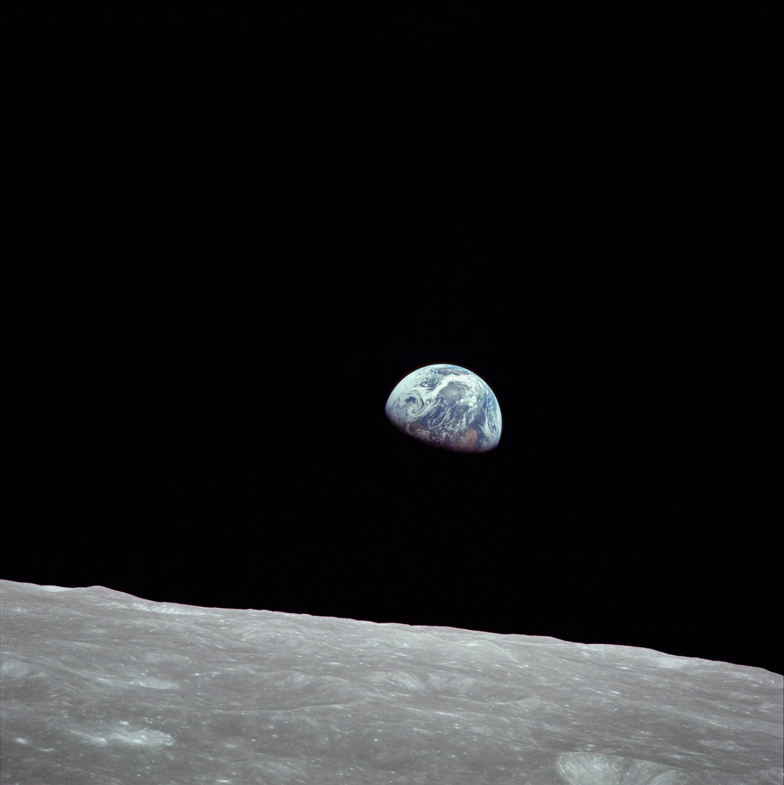 Earthrise. Taken on 24 December 1968, by the crew of Apollo 8.