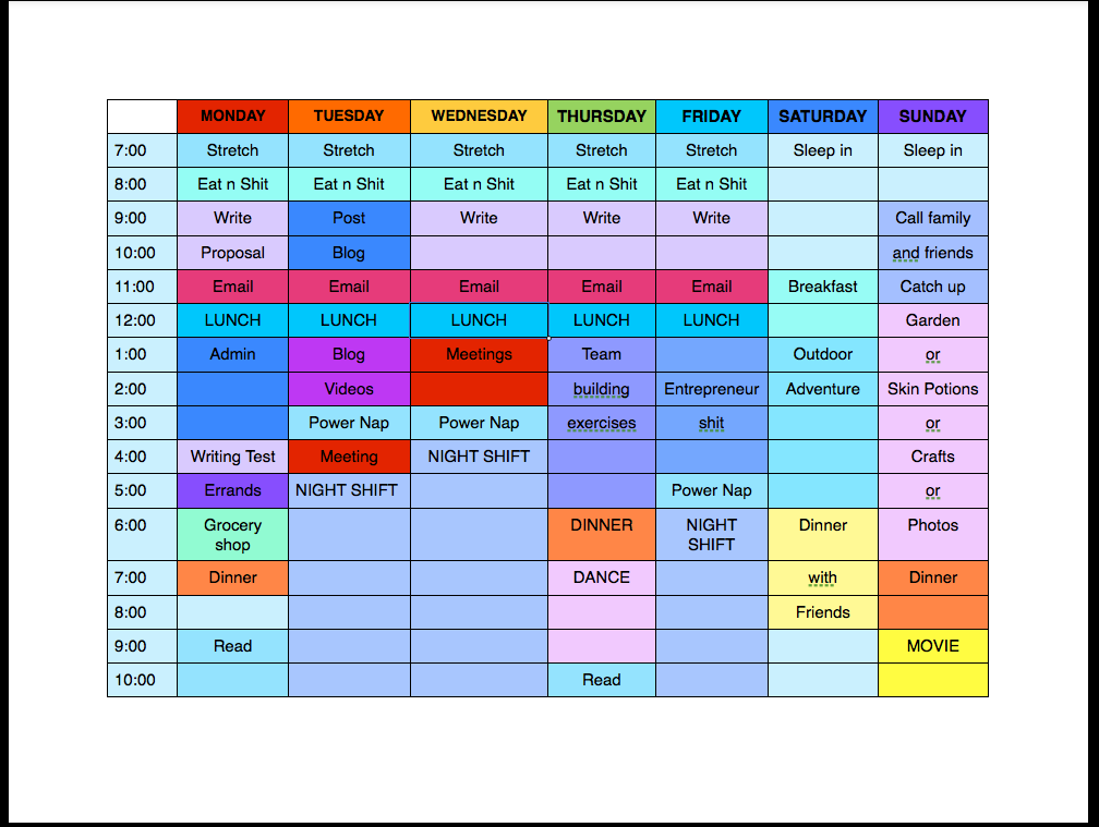 This is not my personal schedule, just an example. However, content may be a little biased :)