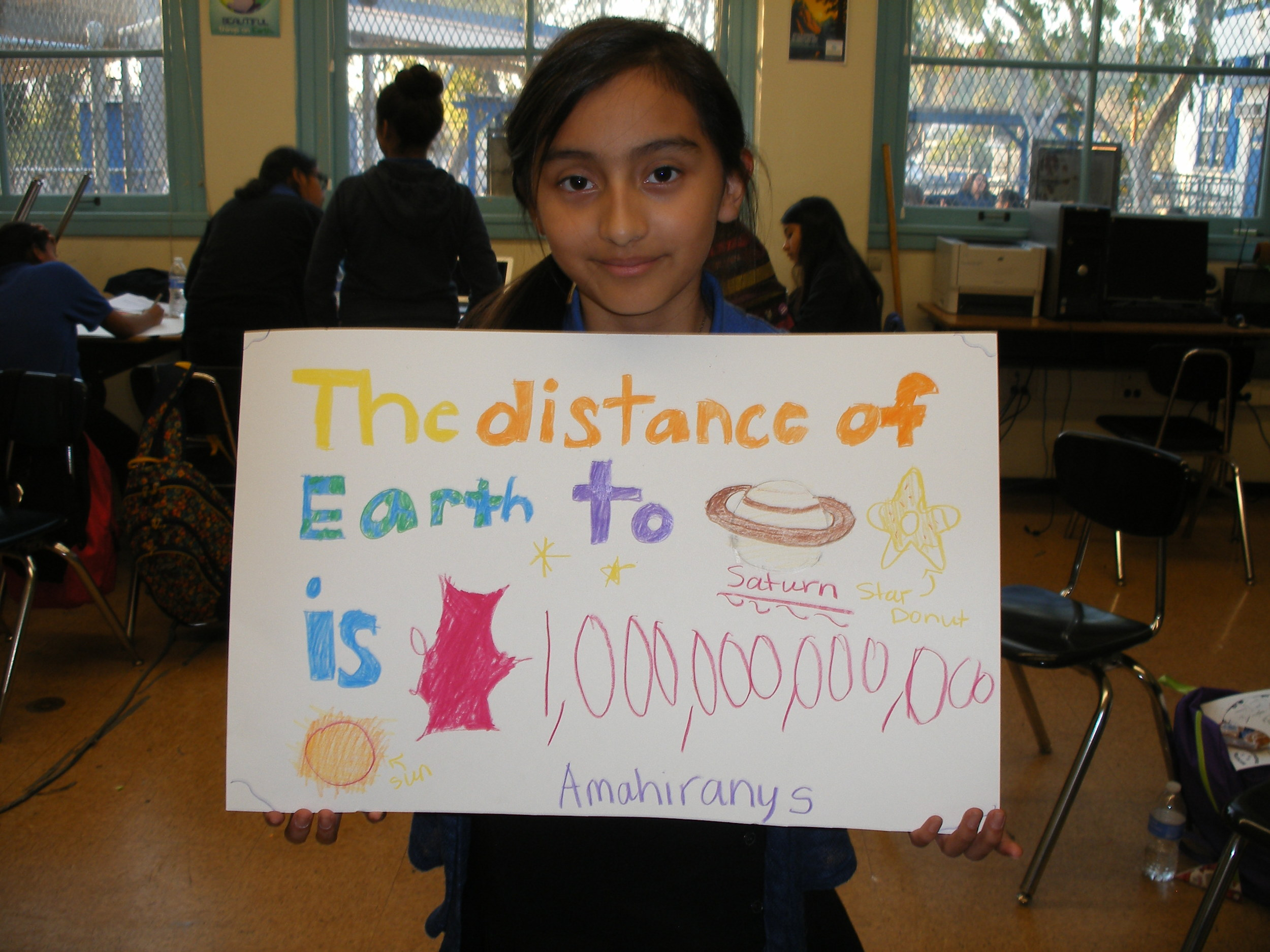 """Amahirany Diaz participates in """"Universe: More Than Meets the Eye"""" workshop at Irving STEAM Magnet Middle School, Eagle Rock, CA, February 2015. Facilitator: Dr. Aomawa Shields"""