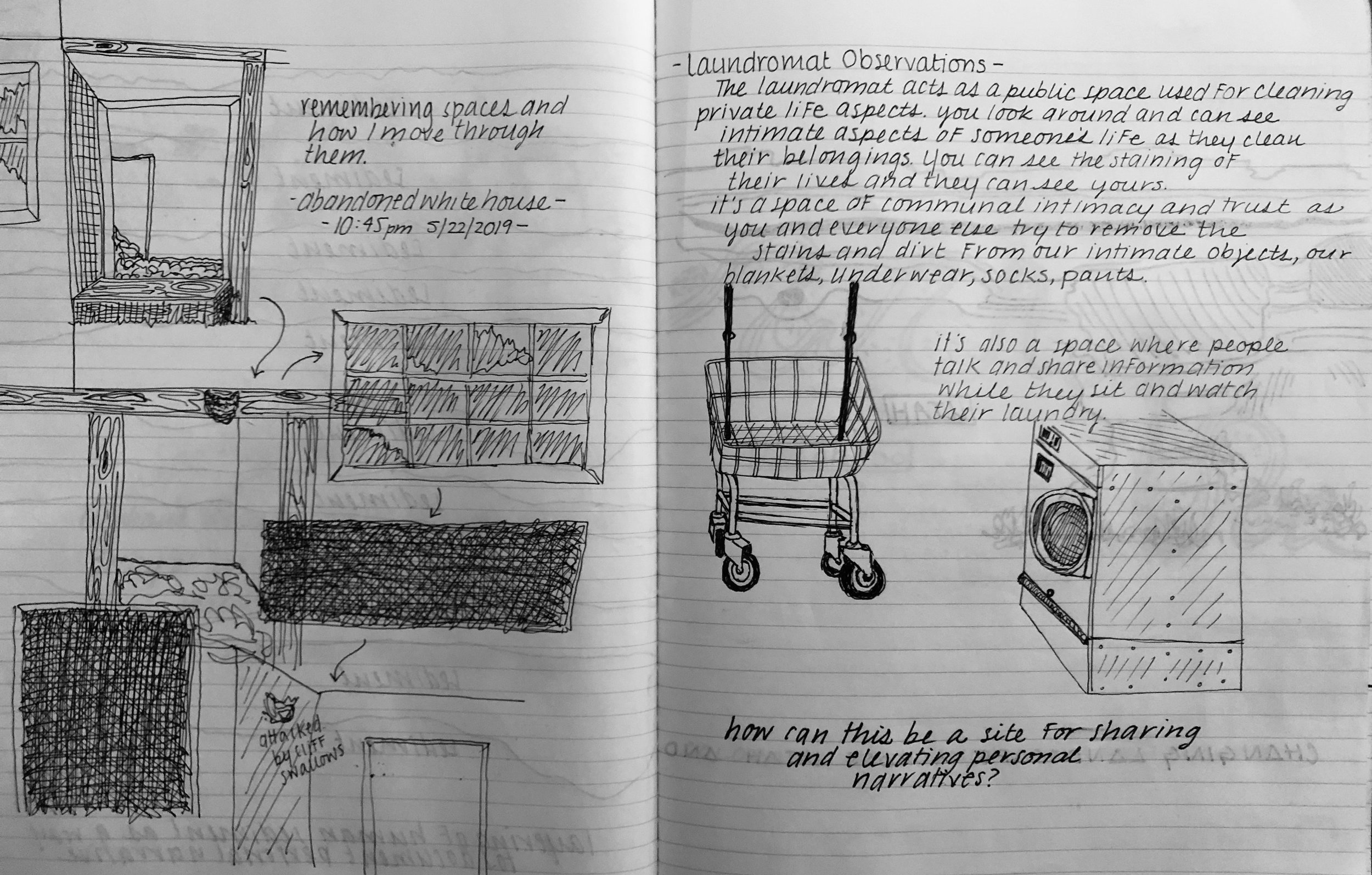 These two pages explore different spaces in Antonito, Colorado. One page shows a diagram I drew from memory recounting how i moved through an abandoned house. The other page shows my thoughts and sketches while in a laundromat.