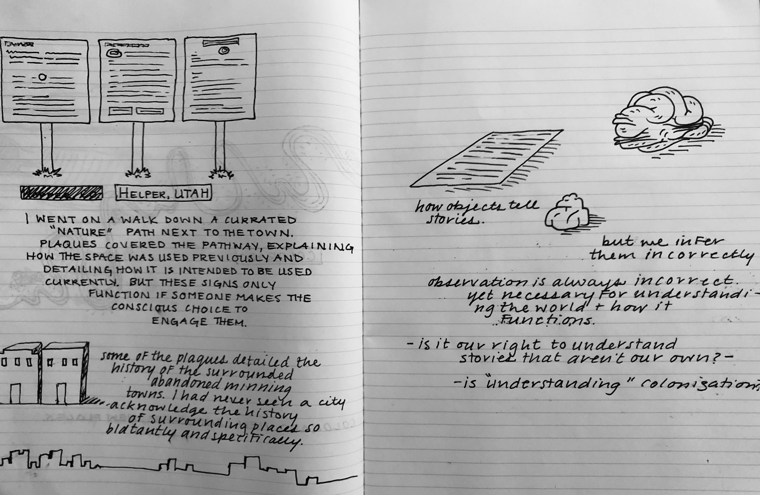 These two pages show my thoughts about how I moved through space in the town of Helper, UT and my questions moving forward for exploring objects and spaces.