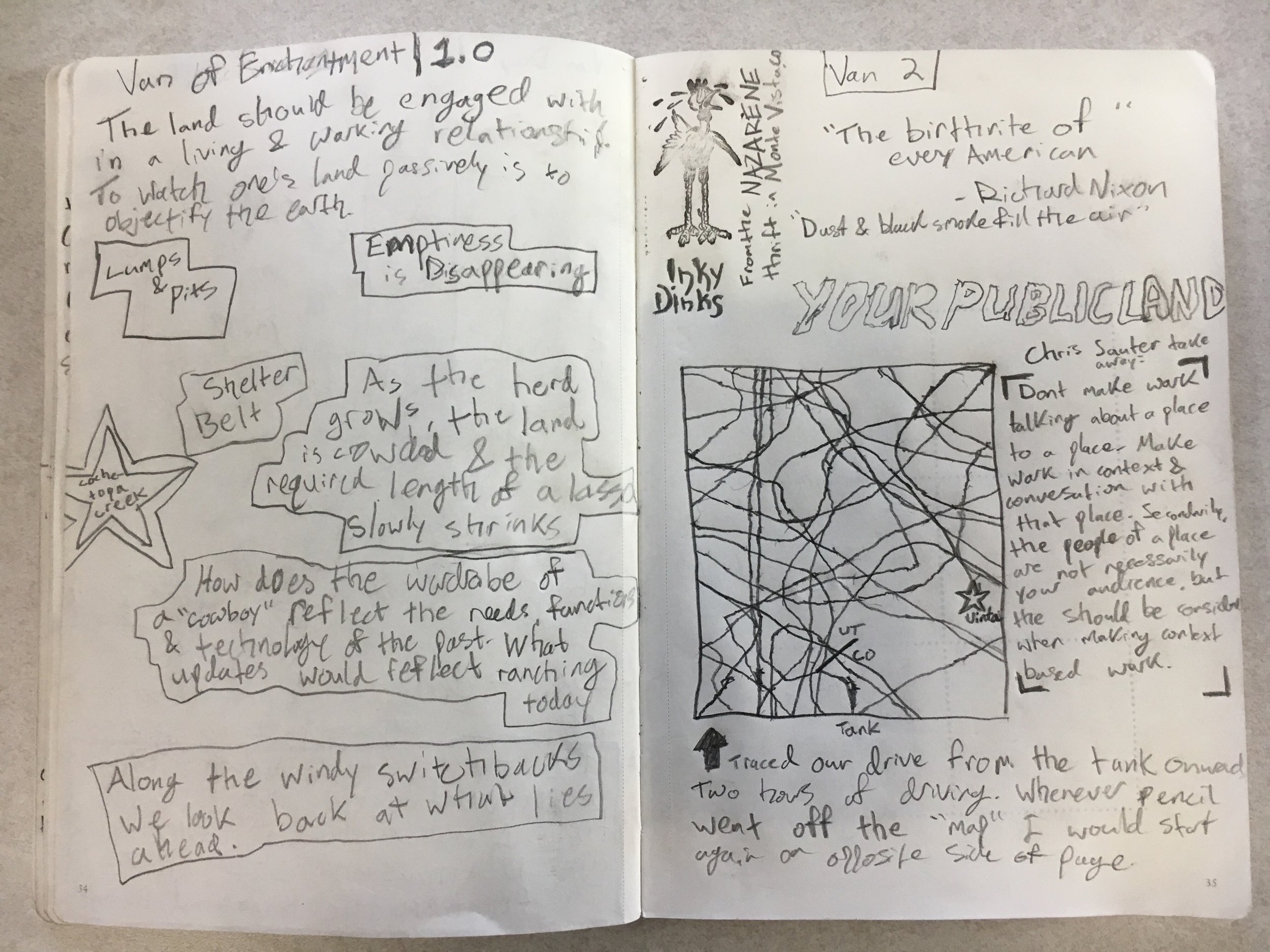"second half of day 1 and day 2 in the van. Highlighted ideas and quotes, thought about the relationship between form and function regarding the West (specifically a lasso) and some can doodles and sketches including a road""map""."