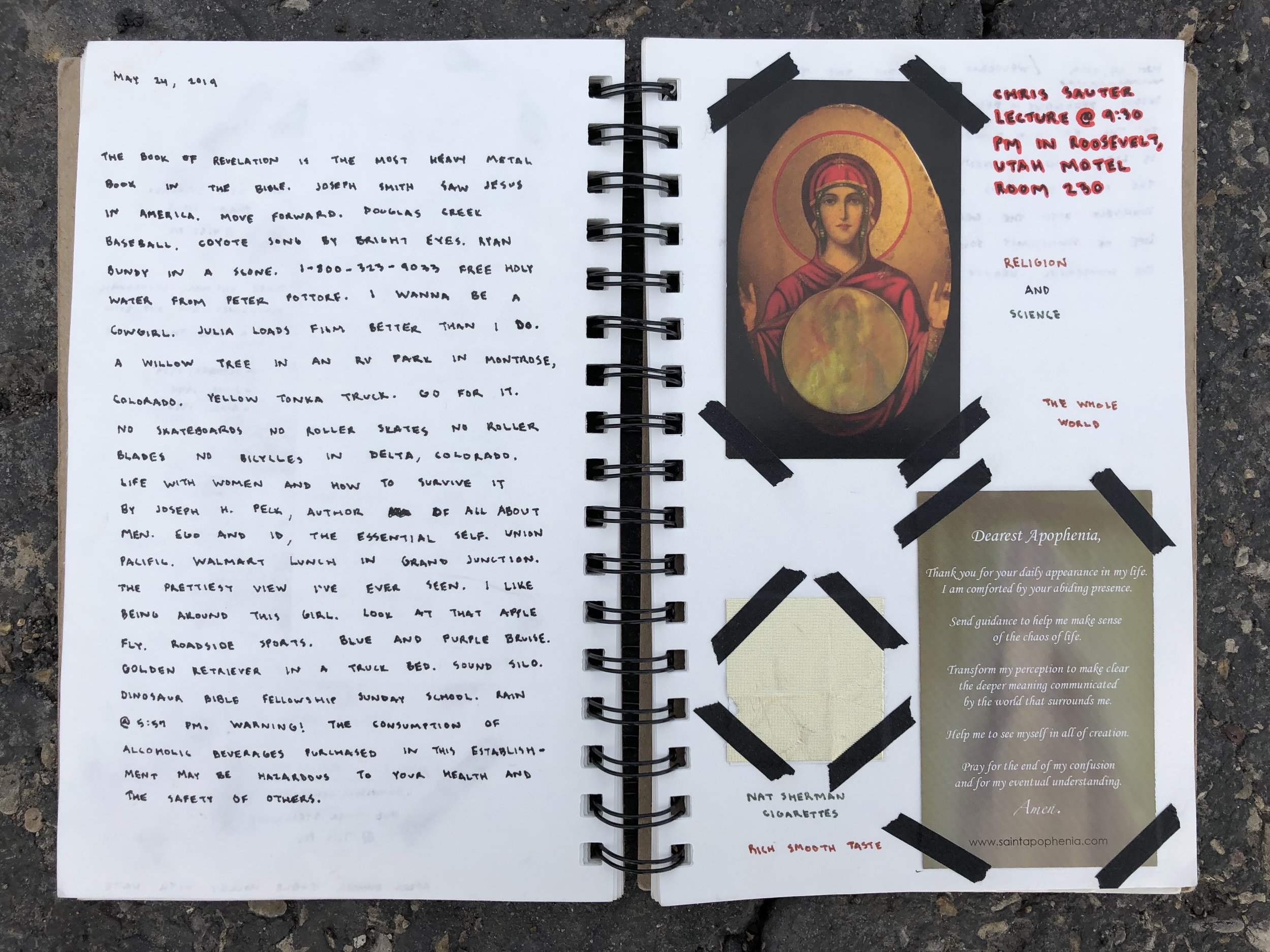 Left side is notes from the day and readings and thinking's—right notes from Chris sauter and findings