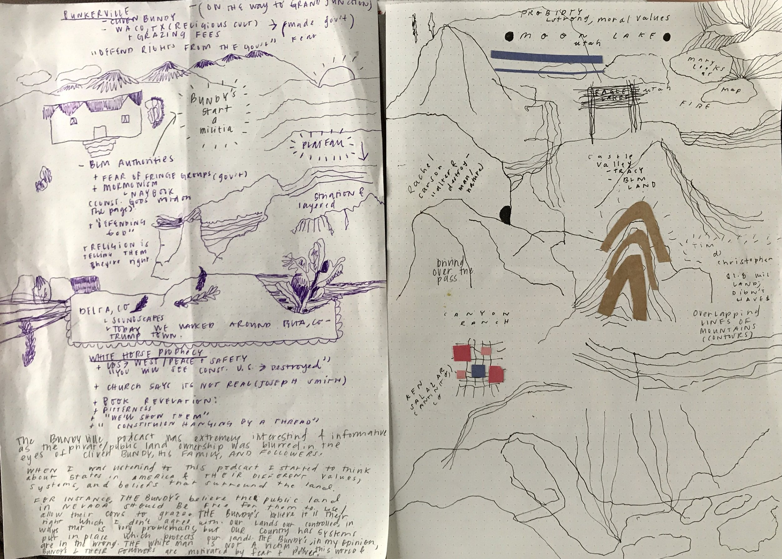 deep listening at the ranch and sketches of my project idea which consists of quilt and weaving pattern