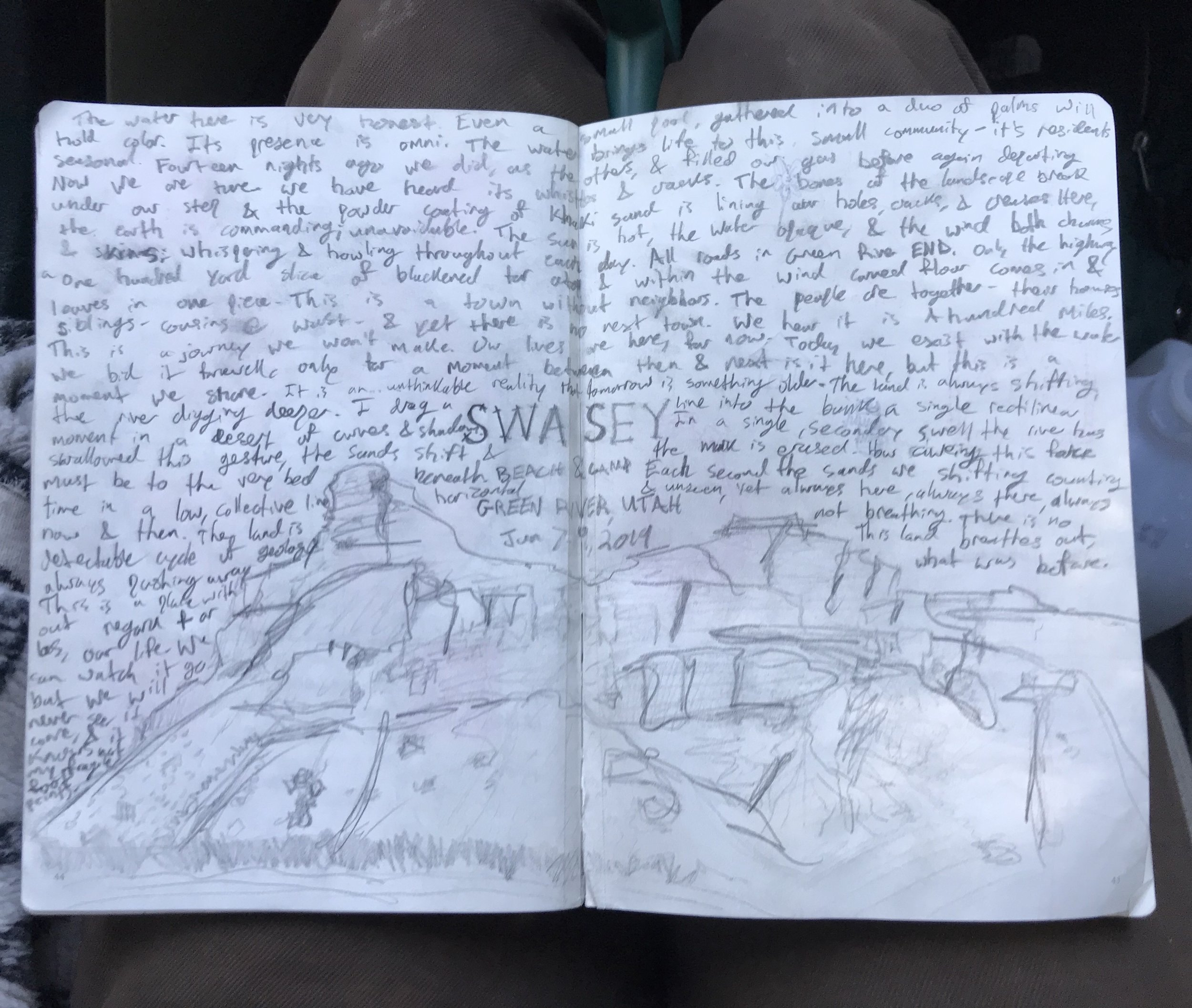 a long drawing of the view in front of our current residence, a shoreline public lands campsite along the Green River, and then some unplanned writings to accompany that sketch