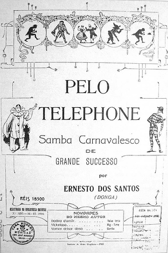 "Sheet music for 1917's ""Pelo Telefone"" sung by Donga."